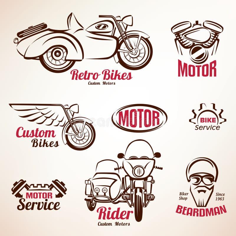 Grupo dos emblemas e de etiquetas dos velomotor ilustração stock