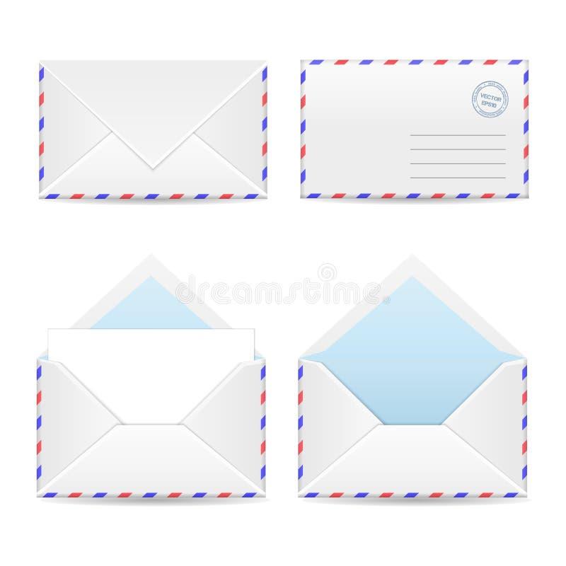 Grupo dos envelopes brancos ilustração royalty free