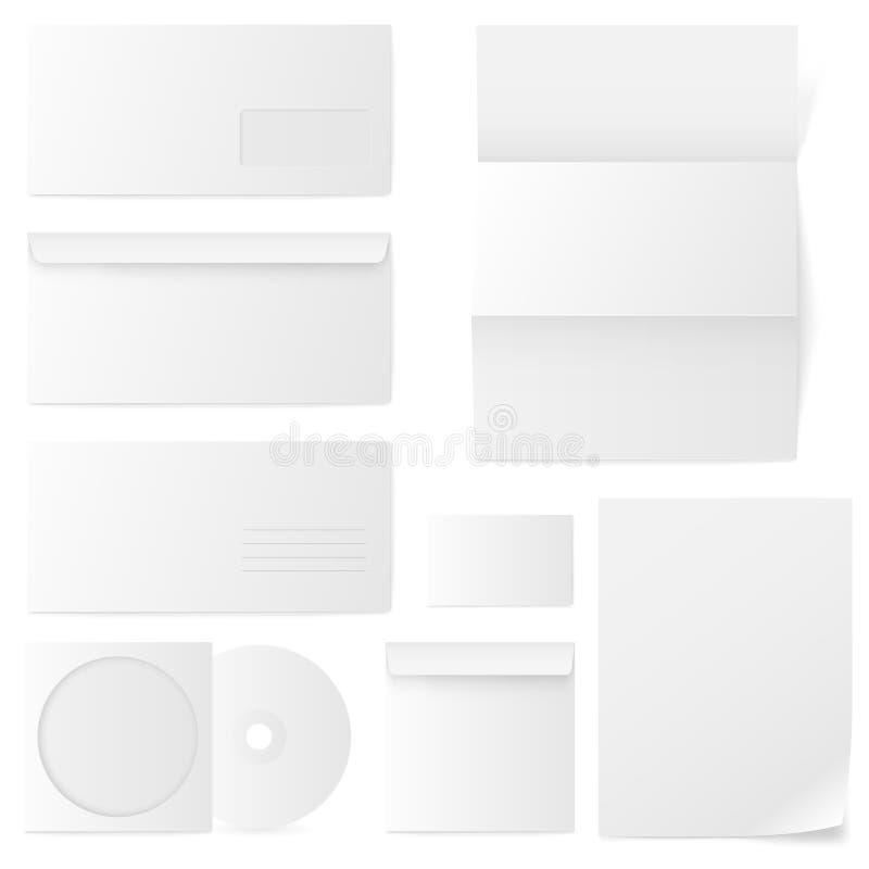 Grupo dos envelopes de papel. Ilustração do vetor. ilustração stock