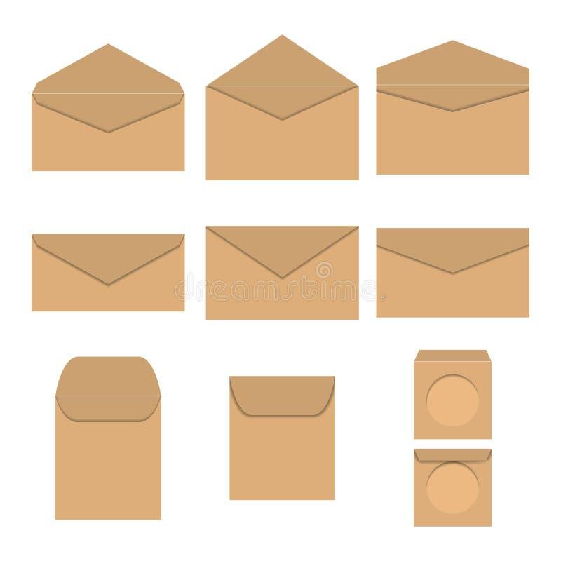 Grupo dos envelopes de papel, ilustração do vetor ilustração royalty free