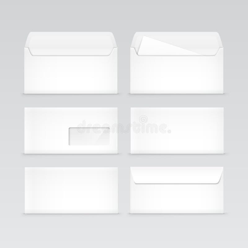Grupo dos envelopes vazios brancos isolados ilustração royalty free