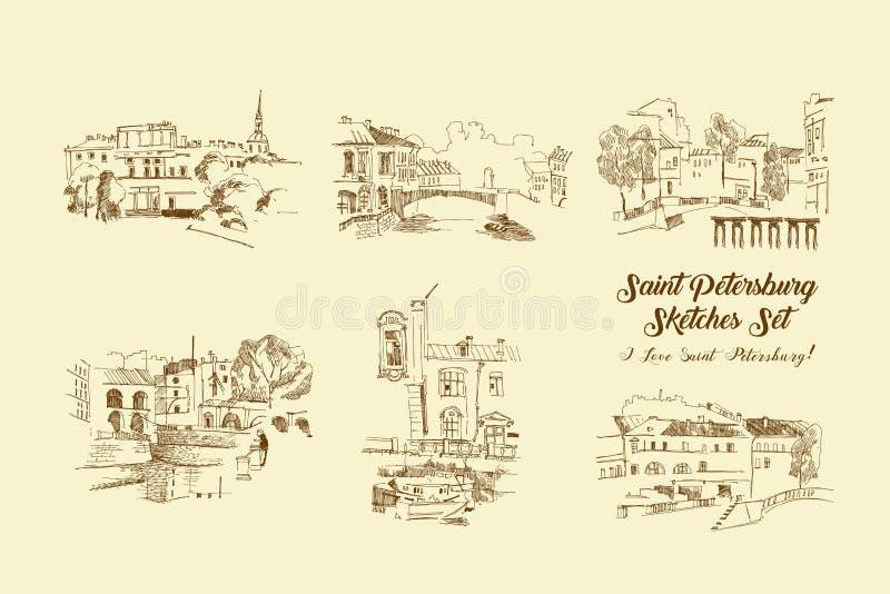 Grupo dos esboços de St Petersburg Ruas e arquitetura da cidade tiradas mão ilustração royalty free