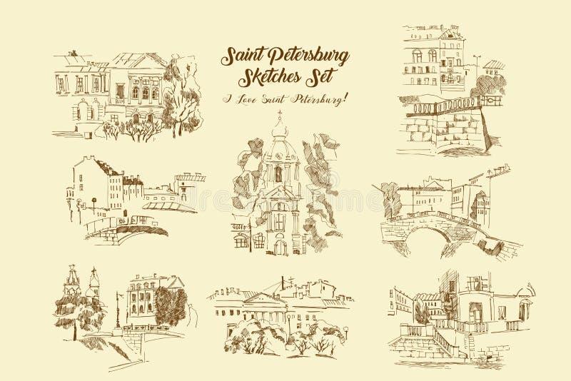 Grupo dos esbo?os de St Petersburg Ruas e arquitetura da cidade tiradas m?o ilustração do vetor
