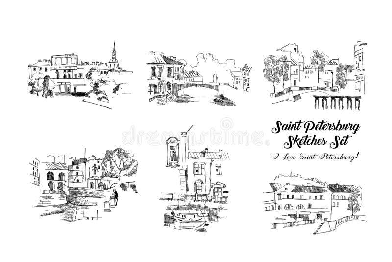 Grupo dos esbo?os de St Petersburg Ruas e arquitetura da cidade tiradas m?o ilustração royalty free