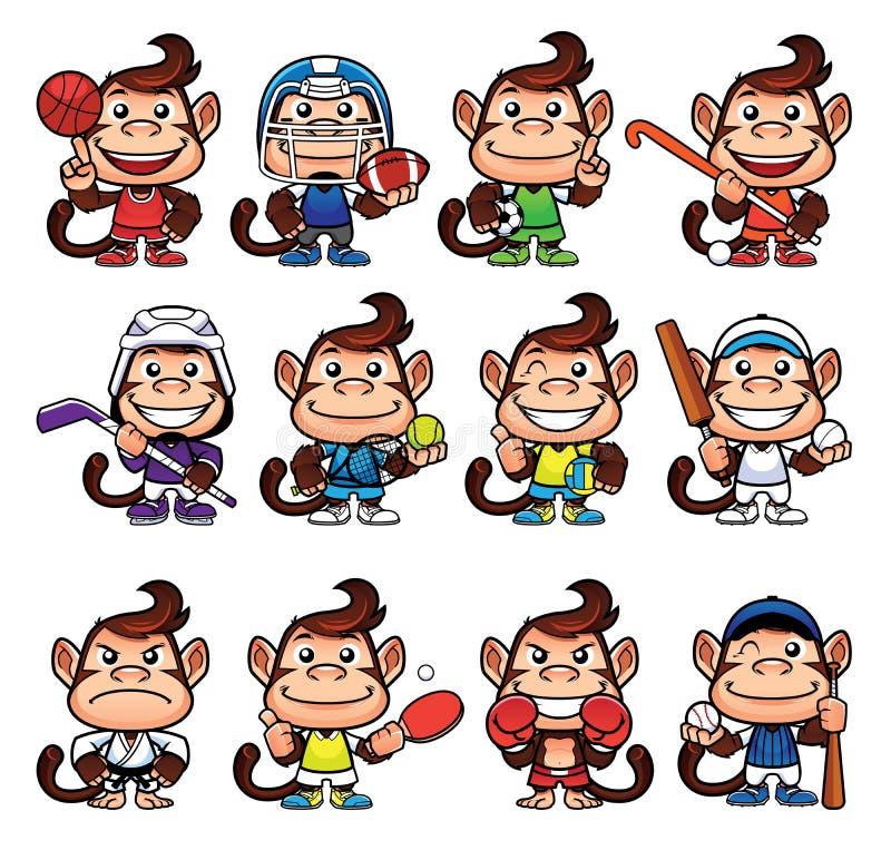 Grupo dos esportes do macaco ilustração royalty free
