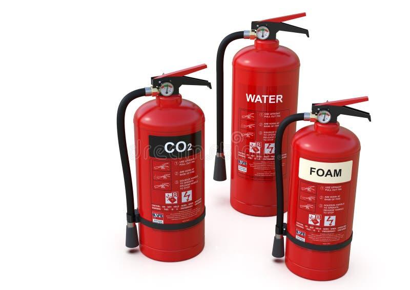 Grupo dos extintores, vários tipos fotografia de stock royalty free