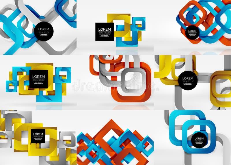 Grupo dos fundos 3d abstratos quadrados ilustração royalty free