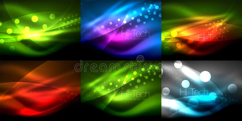 Grupo dos fundos de néon da onda com efeitos da luz, linhas curvy com os pontos brilhando e brilhantes, cores de incandescência n ilustração royalty free