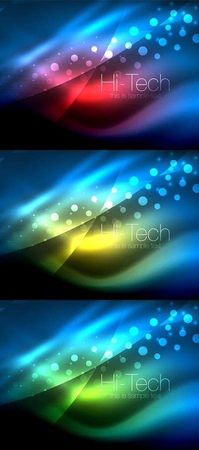 Grupo dos fundos de néon da onda com efeitos da luz, linhas curvy com os pontos brilhando e brilhantes, cores de incandescência n ilustração stock