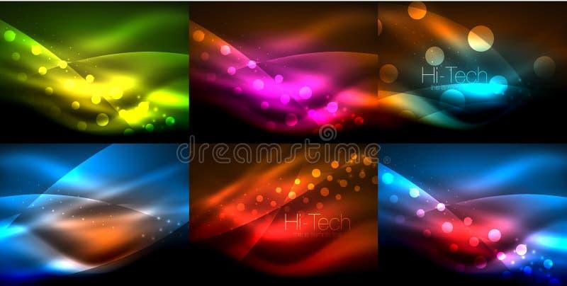 Grupo dos fundos de néon da onda com efeitos da luz, linhas curvy com os pontos brilhando e brilhantes, cores de incandescência n ilustração do vetor