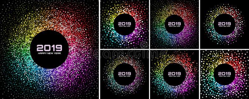 Grupo dos fundos do cartão do ano novo 2019 Quadro colorido brilhante do círculo dos confetes das luzes do disco isolado no fundo ilustração do vetor