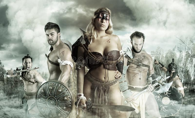 Grupo dos guerreiros/gladiadores imagens de stock royalty free