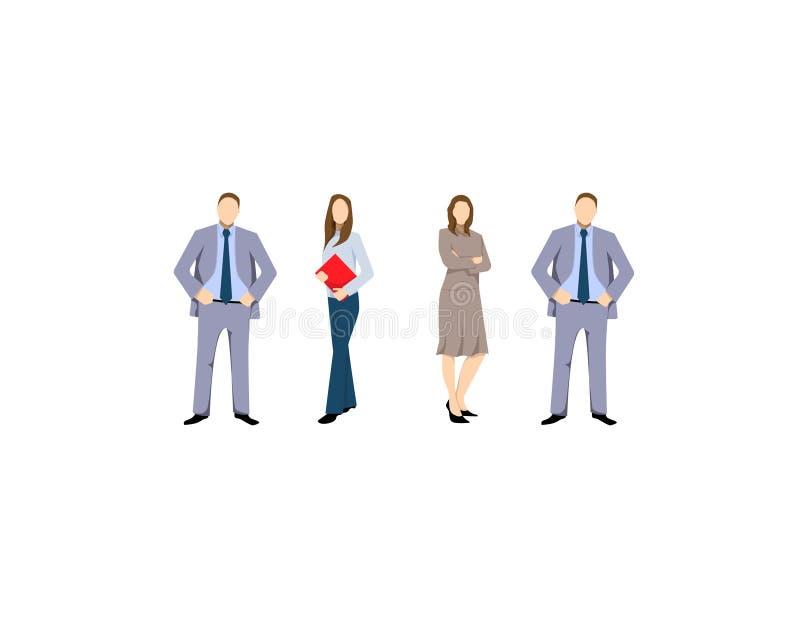Grupo dos homens de negócio e das mulheres, trabalhadores no fundo branco Conceito da equipe e dos trabalhos de equipa do negócio ilustração royalty free