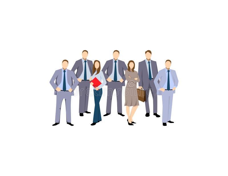 Grupo dos homens de negócio e das mulheres, trabalhadores no fundo branco Conceito da equipe e dos trabalhos de equipa do negócio ilustração do vetor