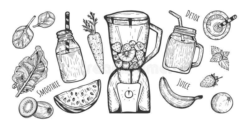 Grupo dos ingredientes do batido ilustração do vetor
