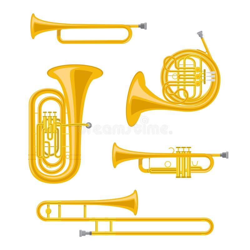 Grupo dos instrumentos musicais de bronze no estilo dos desenhos animados isolados no fundo branco ilustração stock