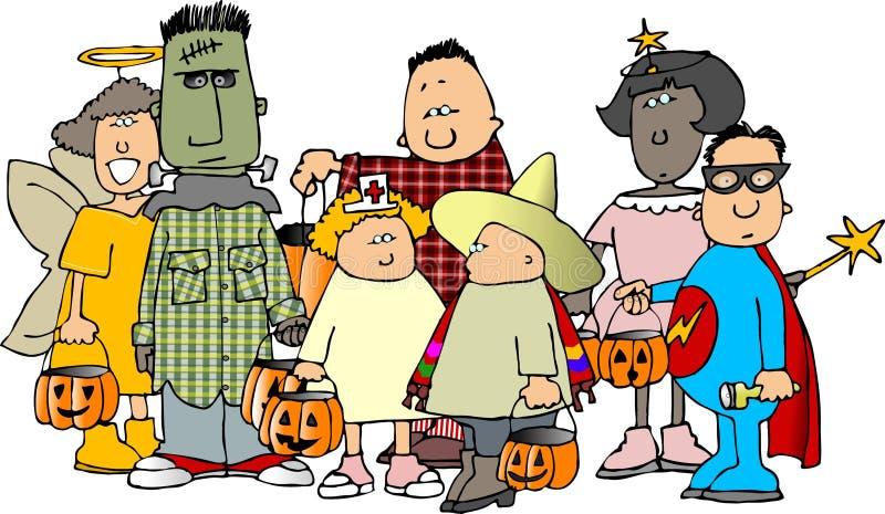 Grupo dos miúdos 1 de Halloween ilustração royalty free