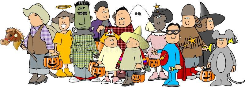 Grupo dos miúdos 3 de Halloween ilustração stock