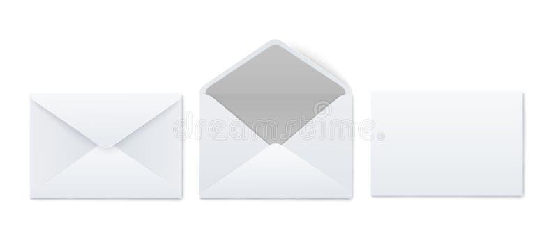 Grupo dos modelos de estilo realístico vazio dos envelopes brancos abertos e fechados ilustração stock