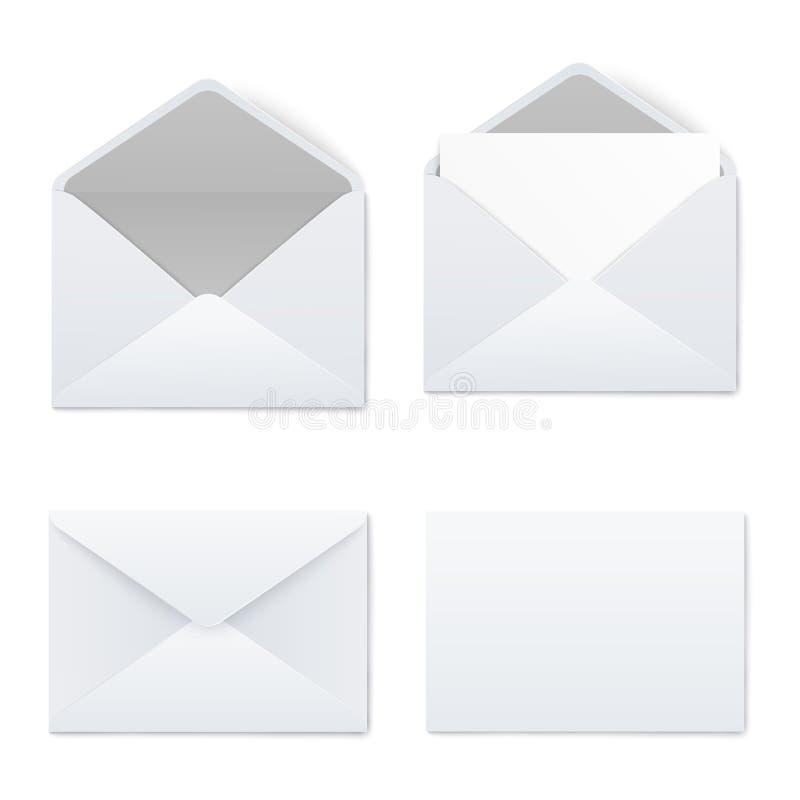 Grupo dos modelos do estilo realístico branco dos envelopes abertos e fechados da placa ilustração do vetor