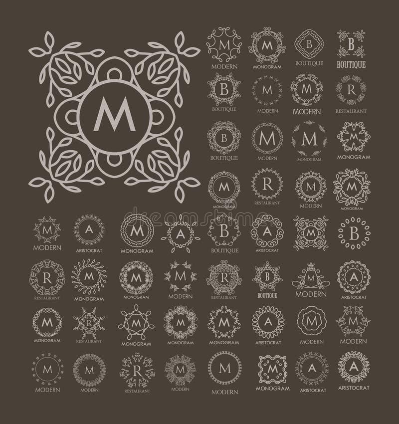 Grupo dos moldes azuis do luxo, os simples e os elegantes do monograma do projeto ilustração stock