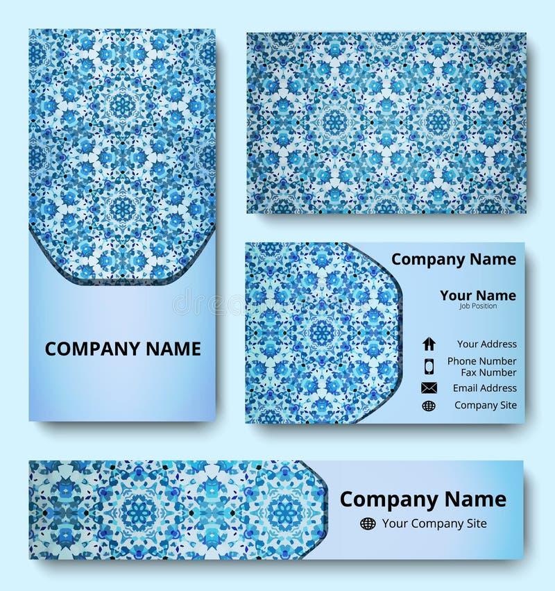 Grupo dos moldes da identidade corporativa de cartão, de bandeira e de convite com projeto decorativo em máscaras azuis e brancas ilustração stock