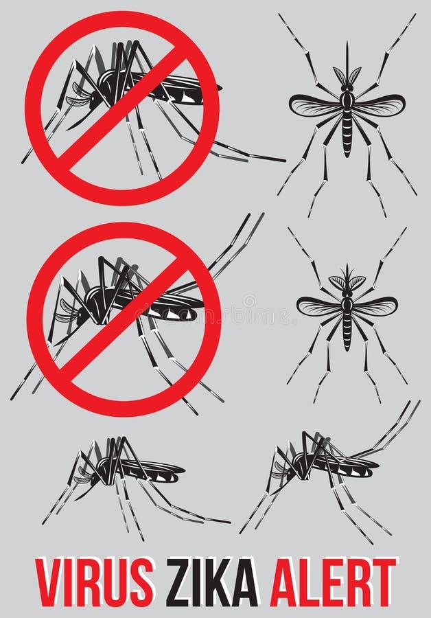Grupo dos moldes, elementos com o mosquito para o emblema médico ao alerta do vírus de Zika Advertência do cuidado e risco de inf ilustração stock