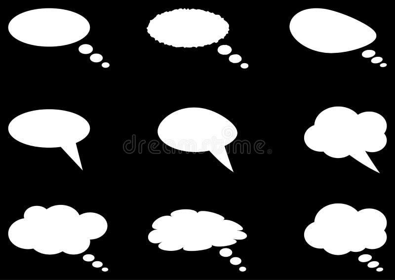 Grupo dos objetos brancos da nuvem nove diferentes do pensamento ilustração do vetor