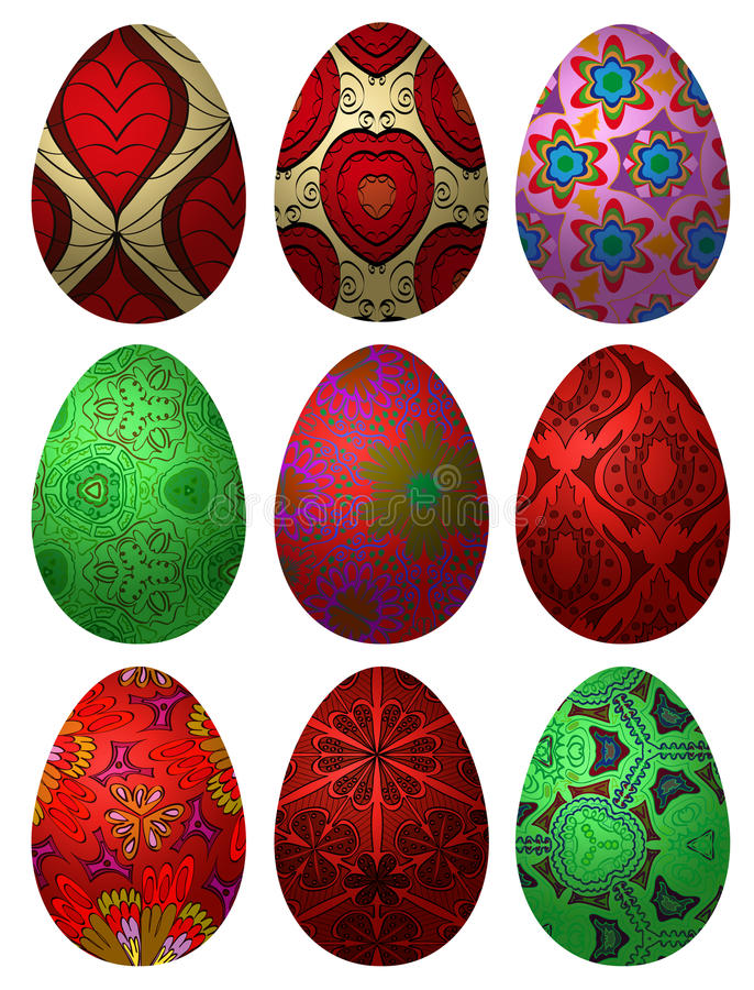 Grupo dos ovos da páscoa 2 ilustração stock