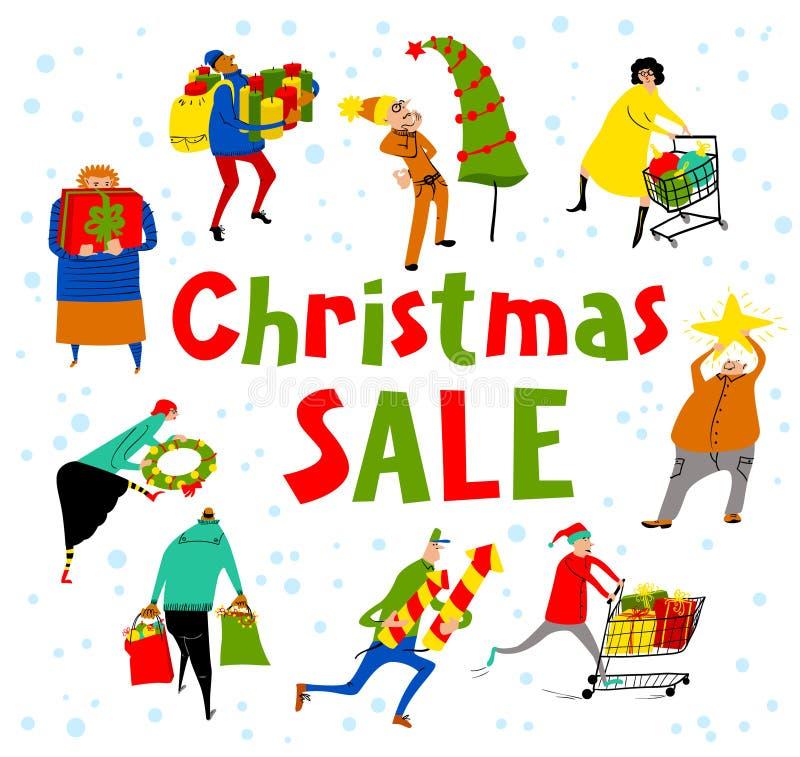 Grupo dos povos da compra Rotulação da venda do Natal Cartão do vetor ilustração royalty free