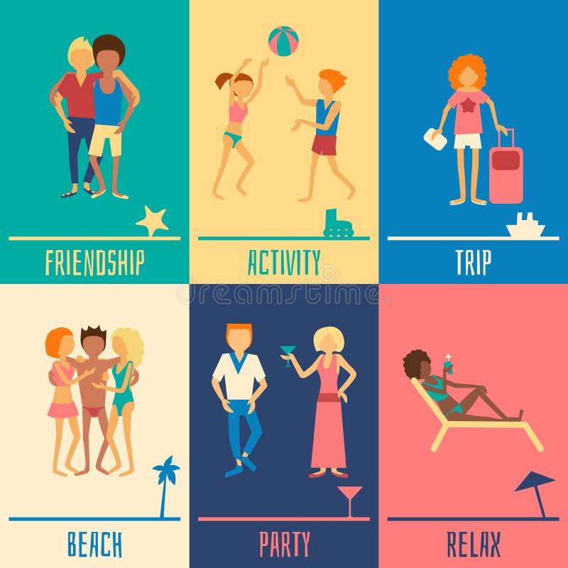 Grupo dos povos das férias ilustração royalty free