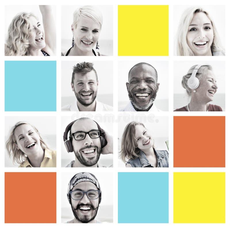 Grupo dos povos de conceito do rosto humano da diversidade das caras imagens de stock royalty free