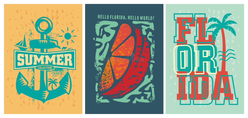 Grupo dos projetos do fato do verão da praia de Florida ilustração stock