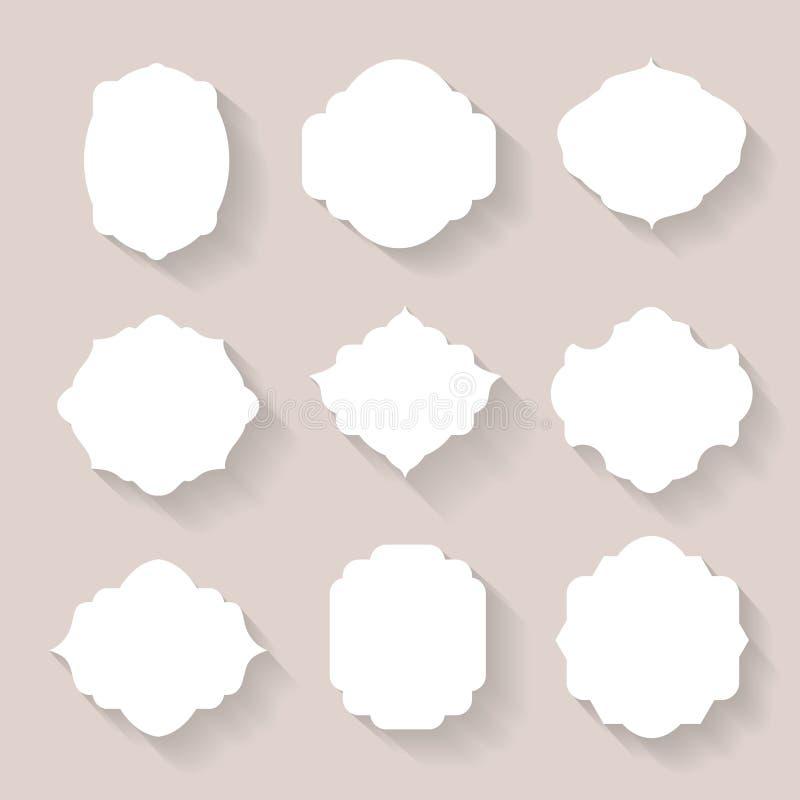 Grupo dos quadros brancos da silhueta do vetor ilustração stock