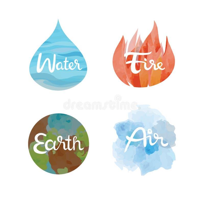 Grupo dos quatro ícones dos elementos da natureza Água, fogo, terra, símbolos do ar ilustração do vetor