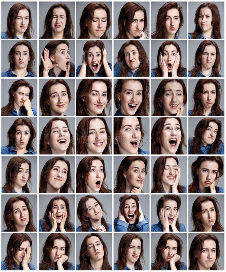 Grupo dos retratos da jovem mulher com emoções diferentes fotografia de stock