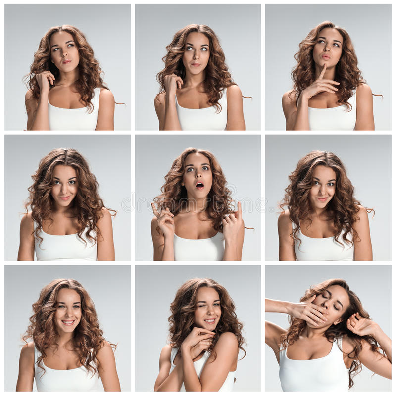 Grupo dos retratos da jovem mulher com emoções felizes diferentes fotografia de stock