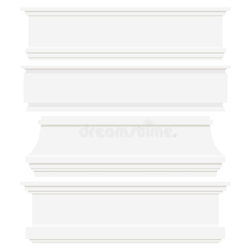Grupo dos rodapés plásticos ou de madeira brancos isolados no fundo branco ilustração royalty free