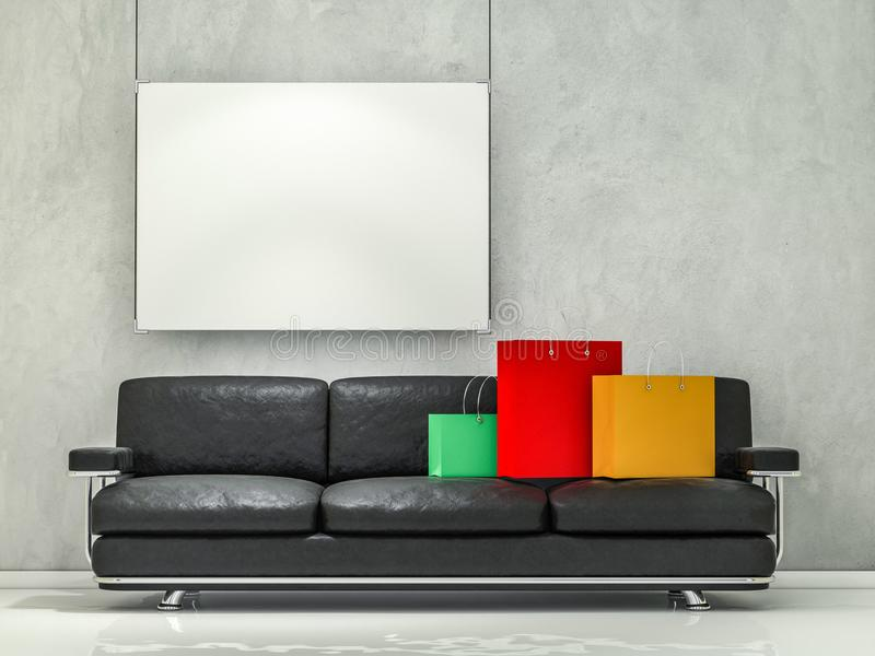 Grupo dos sacos de compras de papel no interior 3d ilustração stock