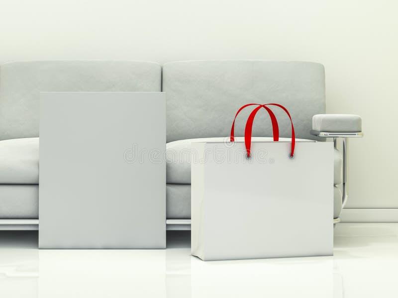 Grupo dos sacos de compras de papel no interior 3d ilustração do vetor