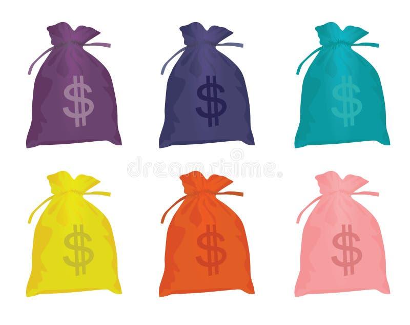 Grupo dos sacos do dólar ilustração stock