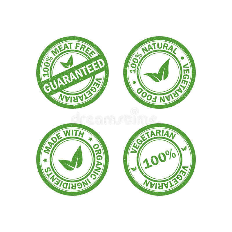 Grupo dos selos de borracha do grunge do alimento do vegetariano Ícones da etiqueta do vegetariano Vetor ilustração royalty free
