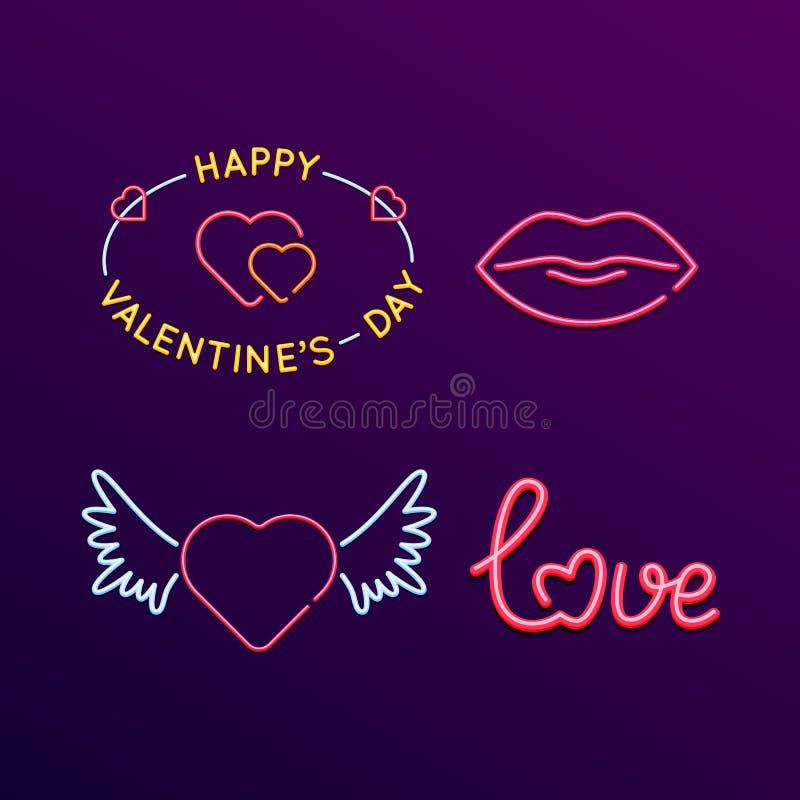 Grupo dos sinais de néon, signage brilhante Dia do ` s do Valentim do conceito, amor ilustração royalty free