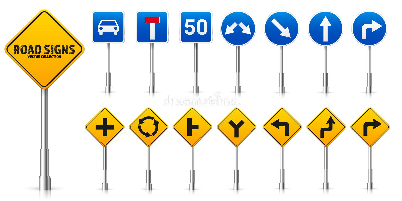Grupo dos sinais reguladores da estrada da estrada Controlo de tr?fico e uso da pista Parada e rendimento Ilustra??o do vetor ilustração do vetor