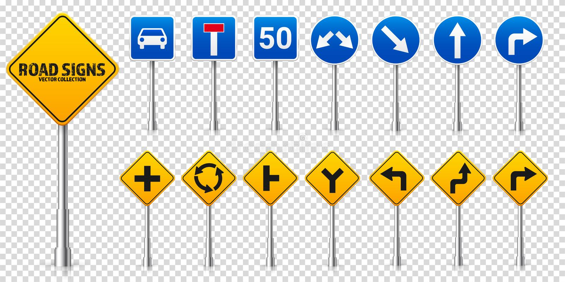 Grupo dos sinais reguladores da estrada da estrada Controlo de tr?fico e uso da pista Parada e rendimento Ilustra??o do vetor ilustração royalty free