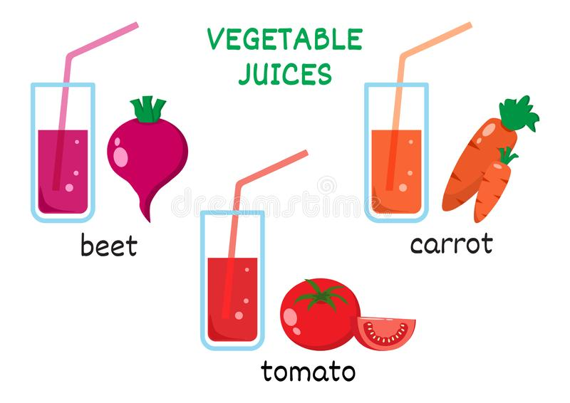 Grupo dos sucos vegetais Suco da beterraba, suco de cenoura, suco de tomate Ilustra??o do vetor ilustração do vetor