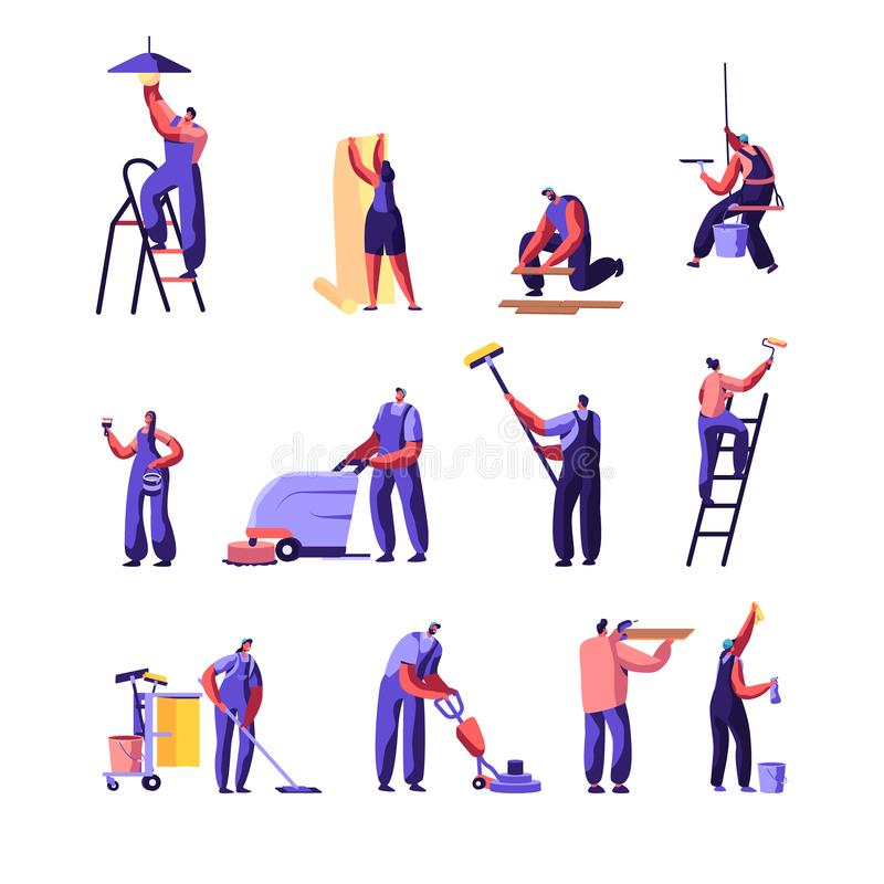 Grupo dos trabalhadores da limpeza e do serviço de reparações Trabalhador da casa com o rolo para a pintura de parede Serviço de  ilustração do vetor