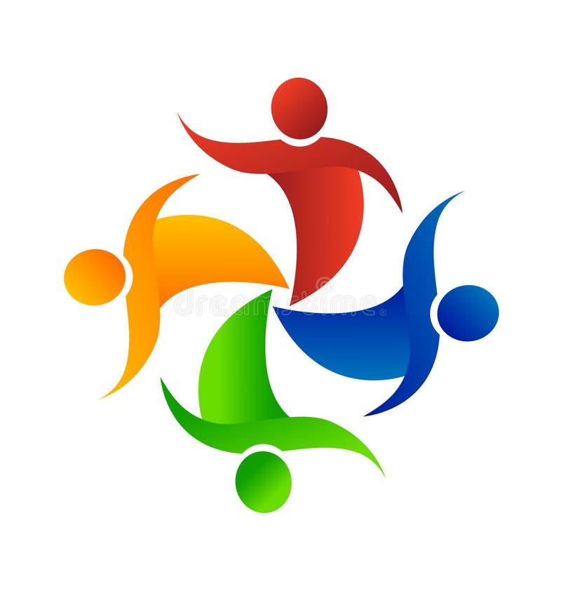 Grupo dos trabalhos de equipa de logotipo dos amigos ilustração stock