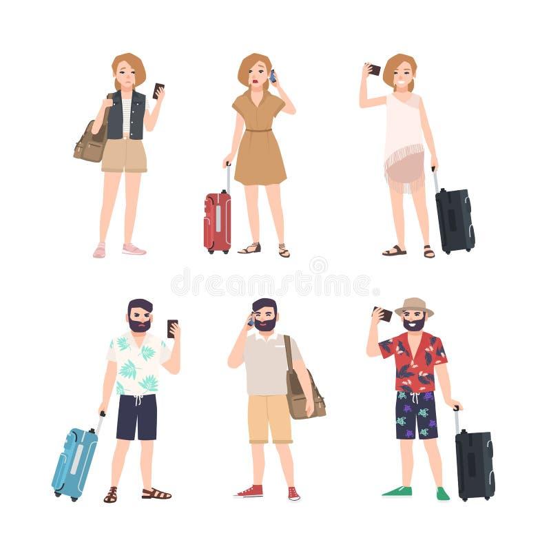 Grupo dos viajantes masculinos e fêmeas com os smartphones que estão em várias poses Pacote de turistas do homem e da mulher que  ilustração royalty free
