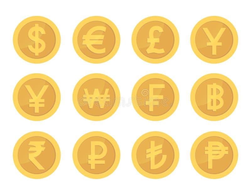 Grupo dourado da moeda de ícones Coleção de moedas do pictograma do ouro ilustração do vetor